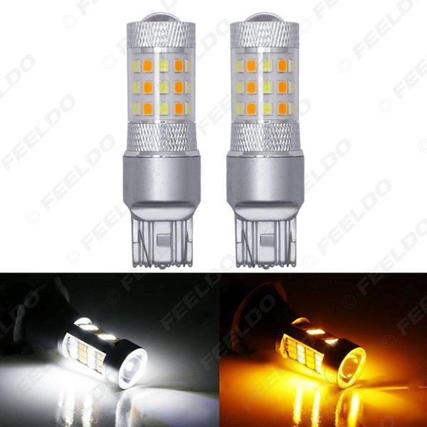 FEELDO 10PCS Xenon-Weiß / Gelb kein Hyper-Blitz 7443 2835 Chip 42SMD Switch-LED-Birnen für vordere Blinker # 5313
