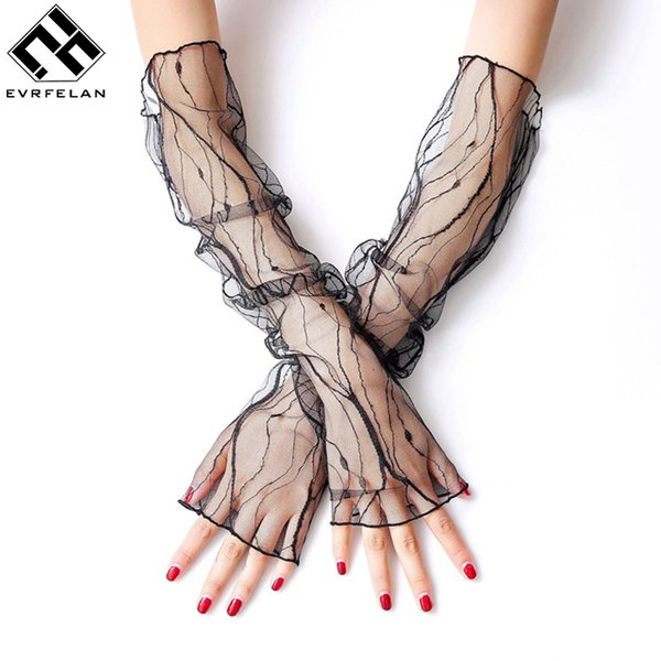 Apparel Accessories Women's Arm Warmers Learned Evrfelan Summer Uv Protection Arm Sleeves Women Sexy Black Lace Floral Sleeve Arm Warmers Long Fingerless Driving Gloves