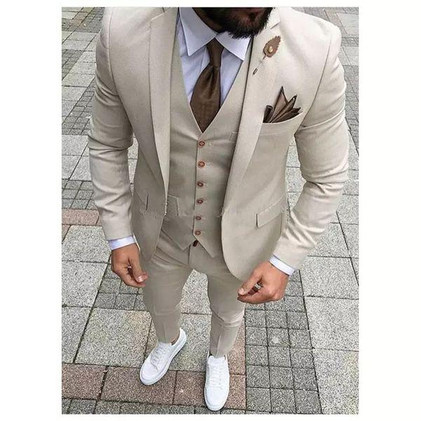 2018 Latest Coat Pant Designs Beige Men Suit Prom Tuxedo Slim Fit 3 Piece Groom Wedding Suits For Men Custom Blazer Terno Masuclino