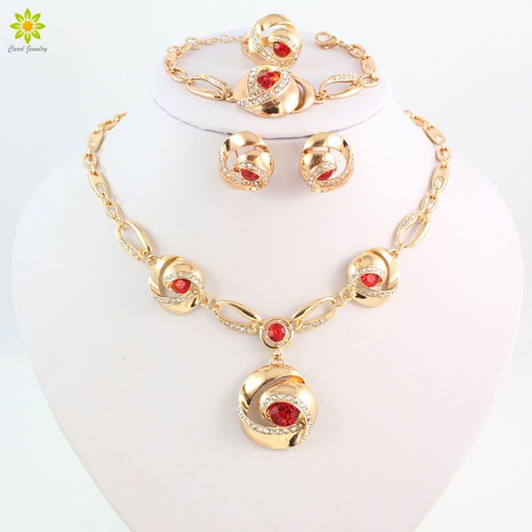 Dubai African New Fashion Red Crystal Women Wedding Bridal Costume Jewelry Sets Gold Color Elegant Romantic Necklace Sets