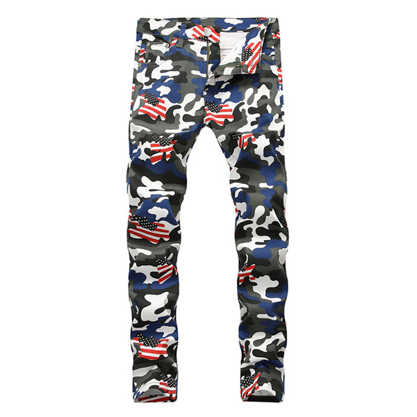ABOORUN US Flag Printed Jeans Mens Fashion Camou Slim fit Jeans Hip Hop Brand Denim Pants for Male x1264