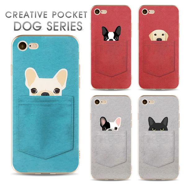Cas de téléphone Pour iPhone 5 5S 6 6S 7 8 Plus X mignonne créative poche chien chiot chat chaton Souple TPU silicone arrière Couverture Coque Fundas + protecteur