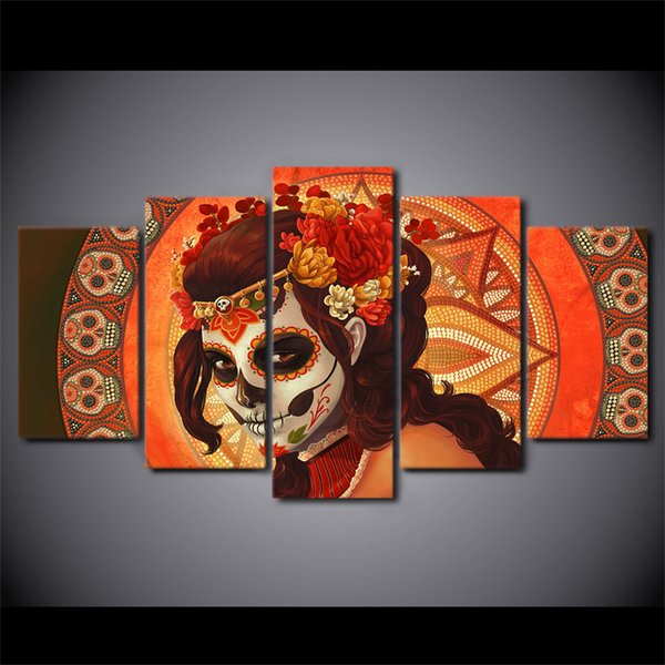 5 Pcs Framed HD Printed Day of The Dead Face Skull Canvas Painting Wall Art Prints Home Decor For Linving Room Art Picture