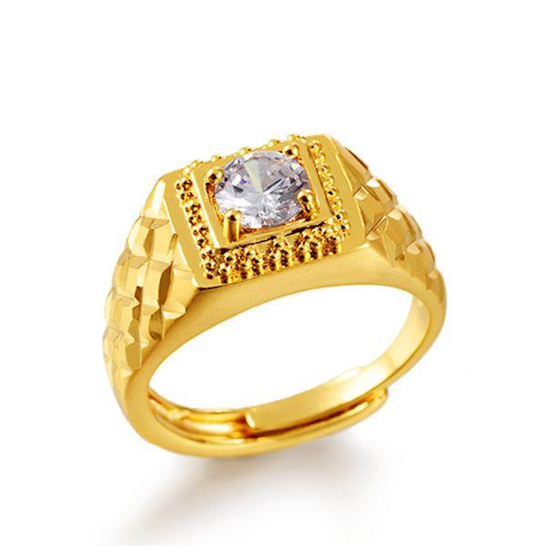 Anillo para hombre 18 k oro amarillo lleno estilo clásico moda hombre dedo anillo tamaño ajustar regalo