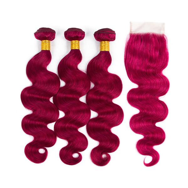 Raw Virgin Virgin Hair 99 # Red 3 paquetes con cierre de encaje Body Wave Color Borgoña Extensiones de tejido de cabello humano con cierres