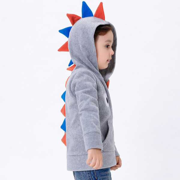 симпатичные дети толстовка с капюшоном мультфильм животных динозавр косплей с капюшоном пальто для 2-6years детей мальчиков девочек толстая верхняя одежда одежда