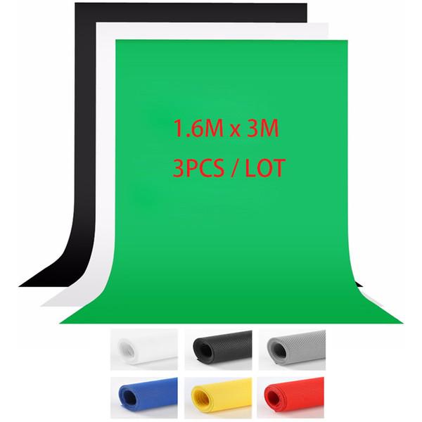 best selling 3PCS LOT 1.6X3m Grey Blue White Black Photography studio Green Screen Chroma key Background Backdrop for Photo Studio Lighting