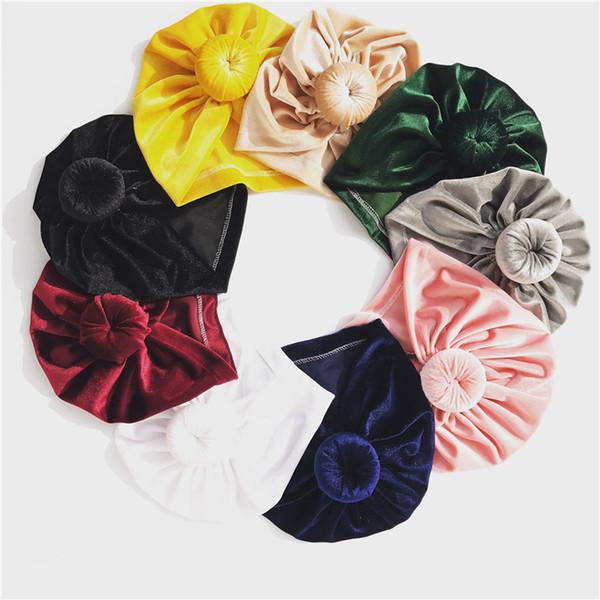 2018 European Fashion Kids Girl Elastic Velvet Wide Ball cap Winter baby Beanie hat Party Headwraps Turban Hair Accessories