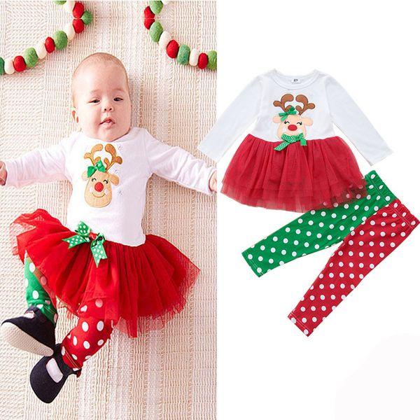 2Pcs / set Baby Siamese Skirt + Pants Girl Pagliaccetti Cotton Christmas Baby Clothes Regalo di Natale appena nato