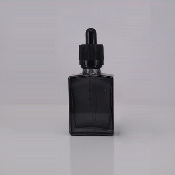 15 ml 30 ml vazio verde azul preto matte vidro retangular e frasco de líquido de vidro quadrado frasco conta-gotas de óleo essencial