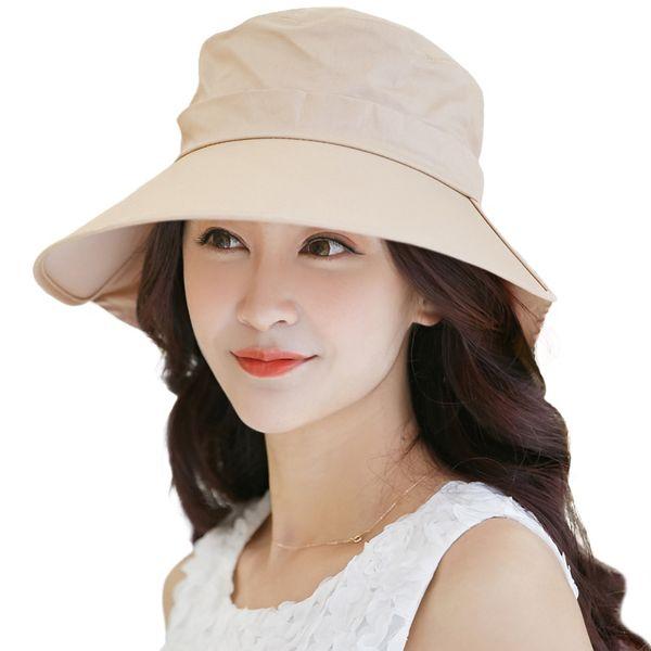 SIGGI Mulheres Verão Chapéu de Sol de algodão Cap chapeu feminino praia  chapeau femme conta pescoço flap UV upf 50 + grande moda brim 68035  S18101708 f424d3c5378