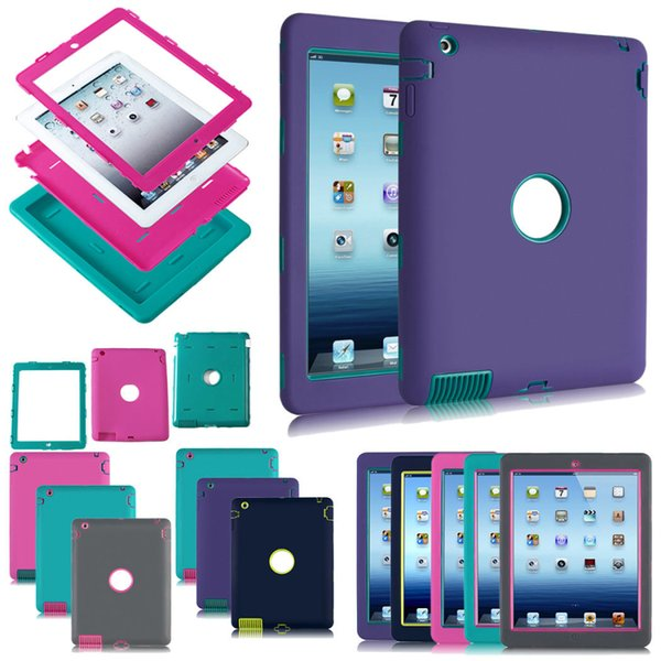 Heavy Duty Back Cover Case Shock Proof Rubber Silicon For iPad 2 3 4 5 6 Air 2 Mini
