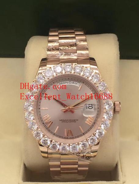 Venta de la manera relojes de 41 mm 118348 Día Fecha Presidente 18k de oro rosa Bisel Diamante Dial romana de Asia 2813 automática hombres mecánicos Wri