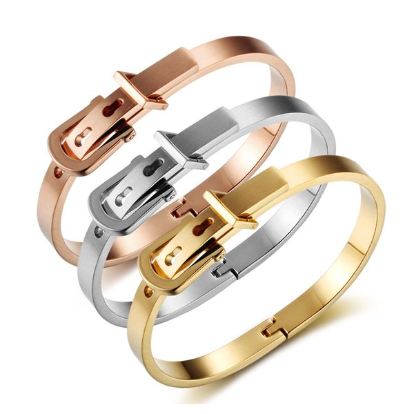 Fashion Expandable Bangle Bracelet Wholesale Women Belt Cuff Button Stainless Steel Bracelets Jewelry