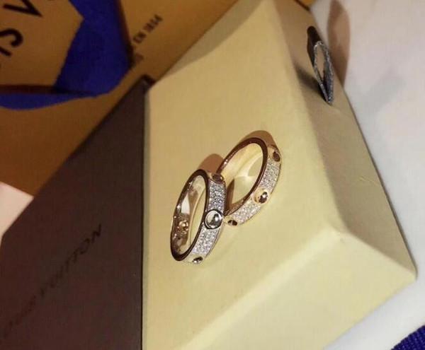 18 carati Empreinte Anello in oro bianco con diamanti petit BERY 316L titanio chiodi in acciaio anelli amanti anelli a fascia di formato per le donne e gli uomini di marca Empreinte