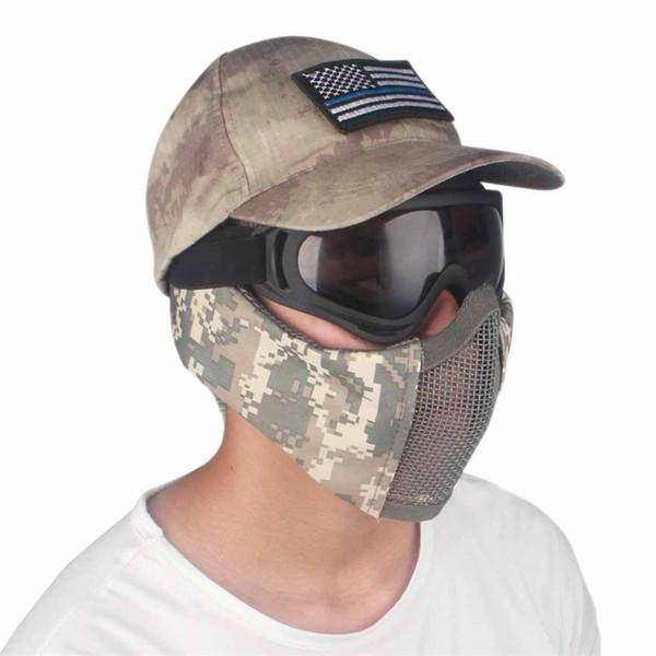 Taktik Av Koruyucu Mesh Maske Yarım Yüz Metal Çelik Net Guard Maske Kapak Kulak koruma için yarım yüz mesh