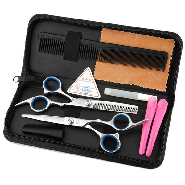 6 unids / set 6 pulgadas tijeras de peluquero peluquería profesional tijeras mujeres belleza flequillo peluquería scisors de calidad superior con el bolso