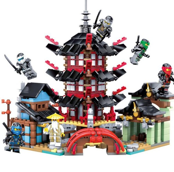 best selling Ninja Temple 737+pcs DIY Building Block Sets educational Toys for Children Compatible legoing ninjagoes free shipping