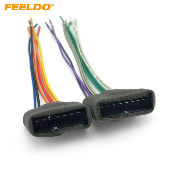 FEELDO 2PCS Car CD Player Radio Audio Stereo Wiring Harness Adapter Plug for Ford 1987-1993 Mustang #2957