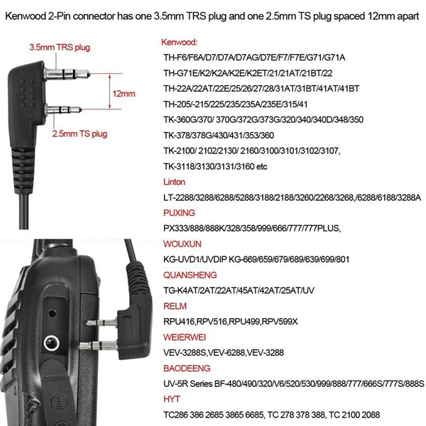 Abbree PTT Mic Air Acoustic Tube Earpiece Walkie Talkie Headset For Kenwood Baofeng UV-5R UV-82 TYT MD-380 Wouxun KG-UVD1P Ect