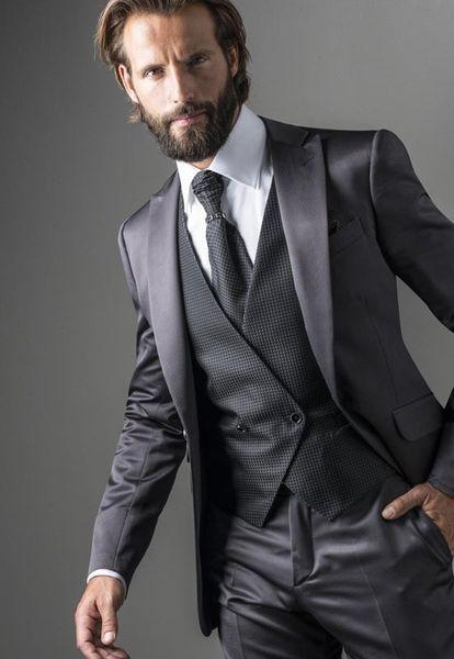 Custom Made Men Suits Black Grey Slim Fit Wedding Suits Best Man Groom Wear Prom 2 Pieces Tailored Tuxedo Terno Blazer Masculino Jacket+Pant