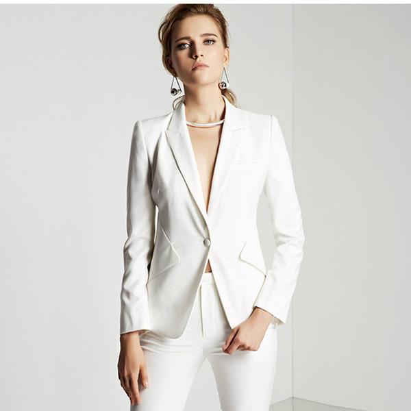 af427aa4692c Compre Aduana Slim Fit Traje Blanco Oficina Damas Ropa De Trabajo Trajes  Para Mujer Juegos De Fiesta OL Jacket + Pants A $52.91 Del Suitdress   ...
