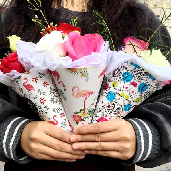 Eistüte Blume Geschenkpapier Verpackung Papier Kegel Halter Bouquet Hochzeitsdekoration Florist Liefert 20 Stücke haif