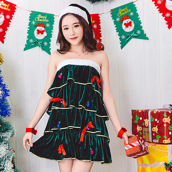 2018 NightClub Sexy Seduction of Uniform Pleated Skirt Christmas Santa Claus Cospaly Costume DS Stage Dress Disco Dance Suit 8389
