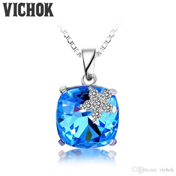 925 Sterling Silver Necklace & Pendants Bling Blue Star Design Necklace Minimalist Fine Jewelry For Women Vintage Jewelry Wholesale VICHOK