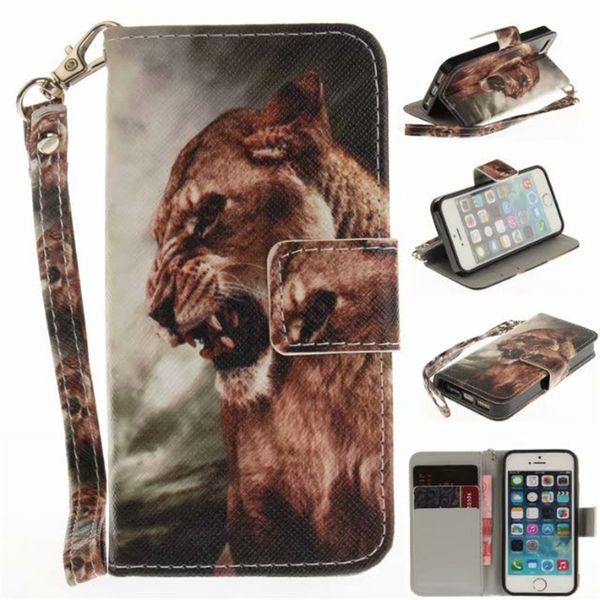 Flip Wallet Case Pour iPhone 5S SE Cas Coque Animal Wolf Hibou Tigre Lion Peint En Cuir PU Téléphone sacs accessoires couverture