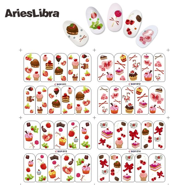 Hot Sale Nail Stickers BOP 011-014 Candy&Cakes 4 Sheets in One Water Transfer Decal DIY Art Nail Tips Decoration