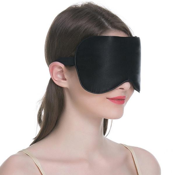 100% Seda resto del sueño Máscara de ojos cubierta de la sombra acolchada Transpirable Viajes Relax Aid Blindfolds 9 colores máscaras del sueño