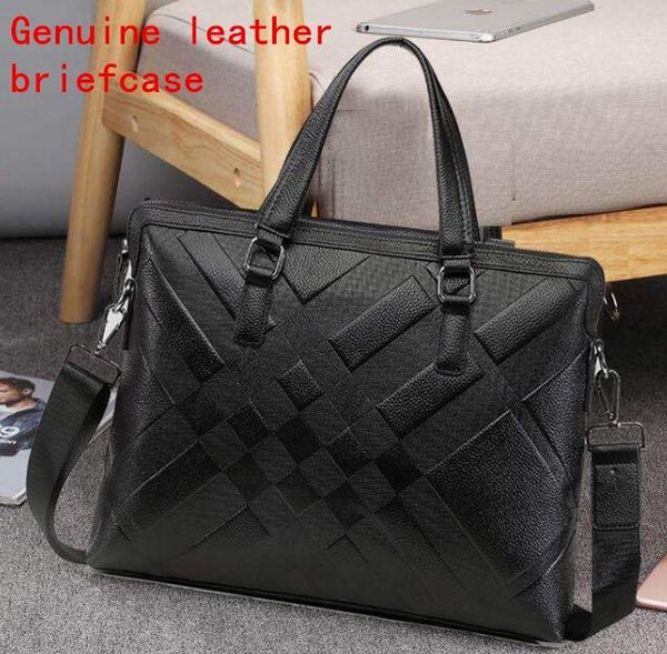 Factory own brand men bag fashion gentleman leather handbag first layer leather business briefcase large-capacity leather computer briefcase