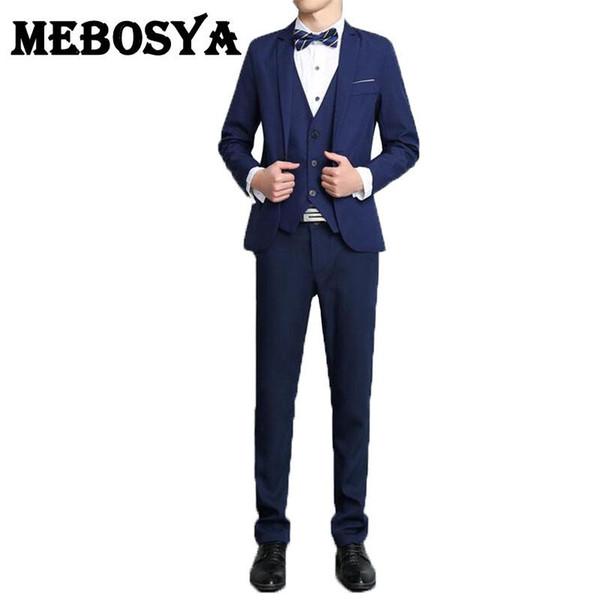 Wholesale- 2016 Men's Formal Suits Set New Fashion Style Groom Business Suits Men Wedding Dress Suit Sets(Jacket+Vest+Pants)
