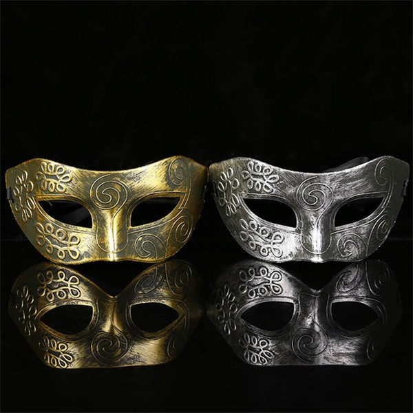 Halloween Archaize Golden Silvery Bronze Man Half Face Mask Flat Head Carved Masks Ancient Rome Masquerade Dance Party Supplies 0 85xx bb