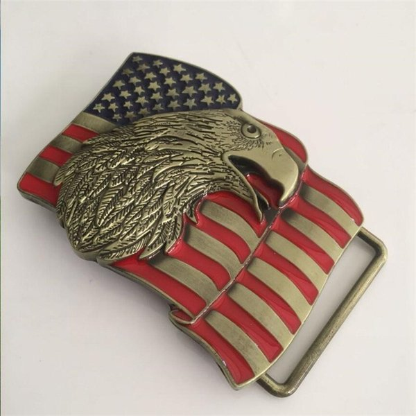 Western style U.S.A American flag eagle metal alloy fashion Men Belt Buckle P0