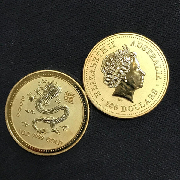 100 pcs Non Magnetic Australian Chinese Dragon 2000 zodiac animal coin 24 K real gold plated 34 mm Elizabeth collectible art coin