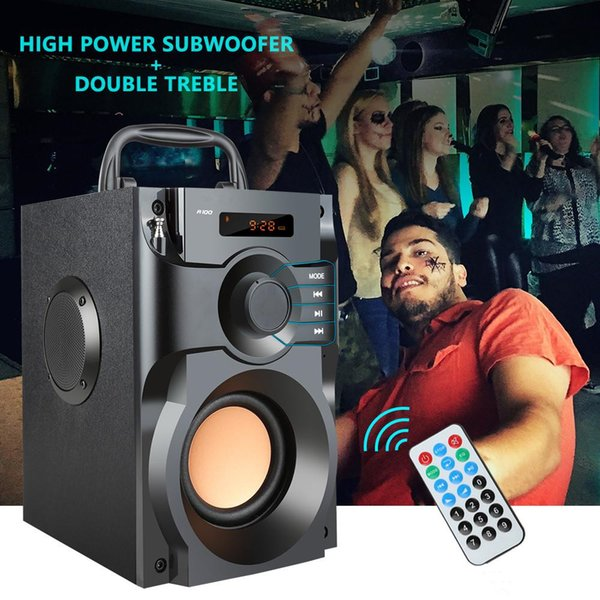 A100 Big Power Bluetooth Speaker Wireless Stereo Subwoofer Heavy Bass Speakers Music Player Support LCD Display FM Radio