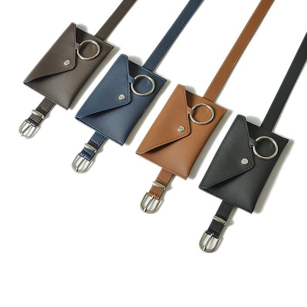 Adult Pu Leather Pocket Belt Bag Ladies Waist Bag Female Crazy PU Leather Belt Cow Snap Wallet Clutch B-9128