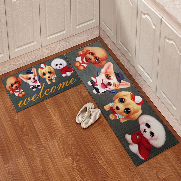 Cartoon Kitchen Floor Mat Door Mat 2pcs/set Mattress Bathroom Antiskid Pad Long Strip Absorbent Household Carpet Super Soft Bathroom Carpet