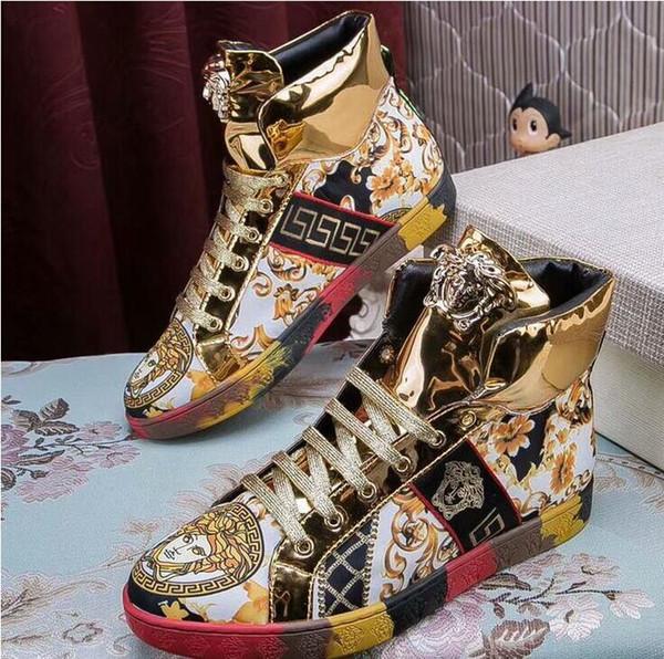Chaussures Verni Et ModeBroderies Hommes D'orDe Sport Confortables Fil La À ConfortablesCuir Pour Acheter Aj45RL