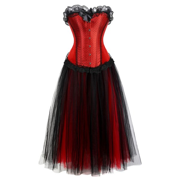 corset dress long cosplay costume plus size mesh skirt set tank lace up overbust corsets bustiers tops lingerie sexy vintage red