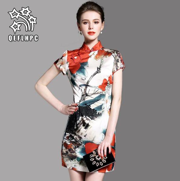 93cc08074 женская одежда. Платье. Китайский стиль. Цветок. Чонсам. 100% полиэфирного  материала