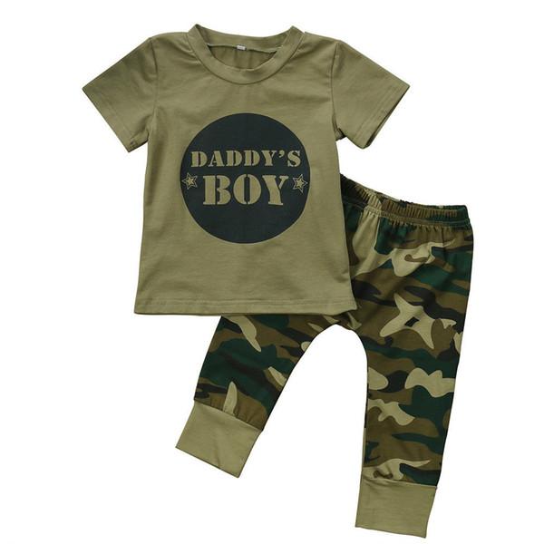 Yenidoğan Bebek Erkek Bebek Kız Kamuflaj tişört Tops Pantolon Kıyafetler Seti Giyim 0-24M Pamuk Casual Kısa Kollu Çocuk Setleri