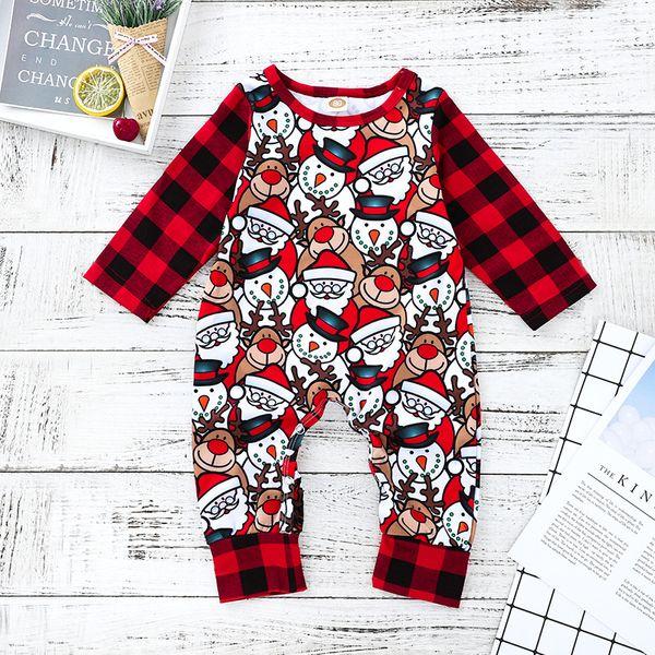 Noël Bébé Fille Vêtements Garçons Rouge Elk Père Noël Complet Imprimer Barboteuses Infantile À Manches Longues Combinaisons Enfants Designer Onesies Marque Vêtements