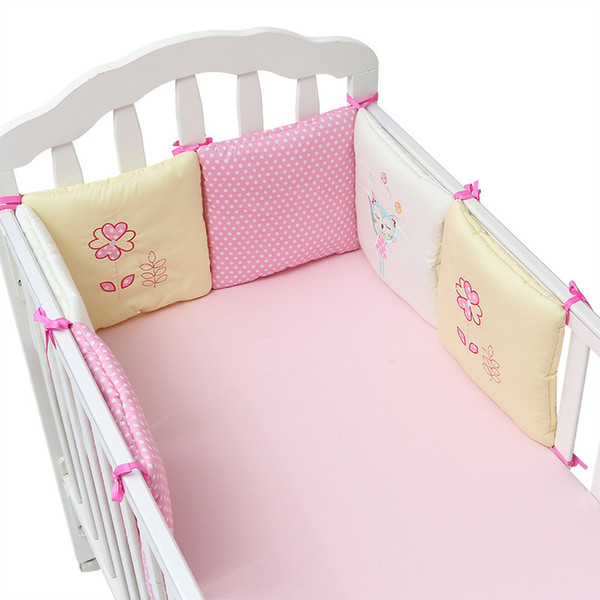 New Style Infant Crib Bumper Bed Protector Baby Kids Cotton Cot Nursery bedding 6 pc Cotton Pink Cat bumper for girl