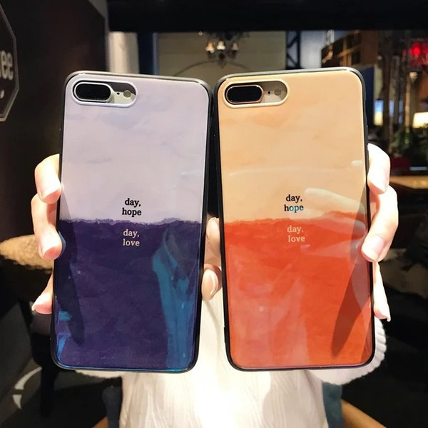For iphone X Cellphone Cases Gradual Blue Light Laser For iphone 7 8 6 6s plus Couple Shell Case Soft TPU Back Cover Hot Sale Free DHL A974