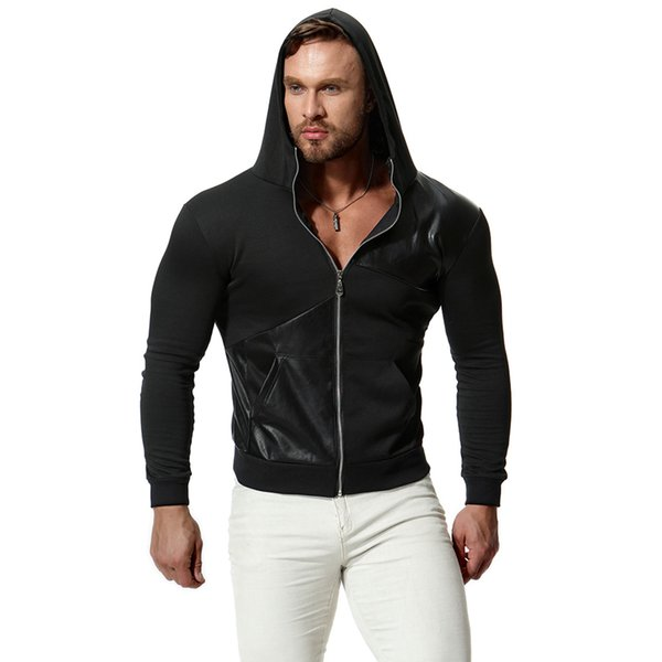 Mens Leather Panelled Casual Cardigan Hoodies Male Solid Color Thin Tops Long Sleeve Sweatshirts Autumn Winter Pullover