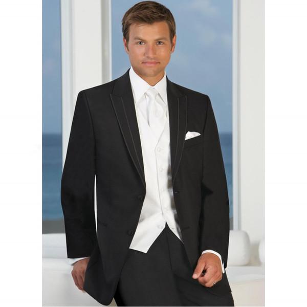Tailor Made Black White Vest Men Suit Groomsmen Tuxedos 3 Piece Suit Wedding Suits For Man Clothing Hot Sale Jacket+Vest+Pants