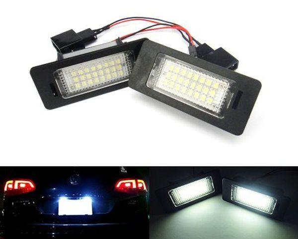 2 unids partes del coche luz 24 SMD 12 V LED licencia placa de la placa para AUDI A4 B8 S4 A5 S5 Q5 aplicado